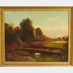 American School, 19th Century      Autumn Landscape with Hayworkers and Cows Watering.