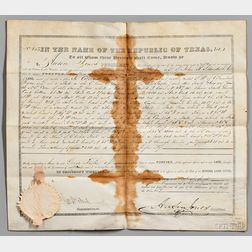 Jones, Anson (1798-1858) Document Signed, Texas Land Deed, 14 February 1845.