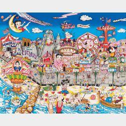 Charles Fazzino (American, b. 1955)      Betty's Booping and Popeye's Swooning on Coney Island Beach