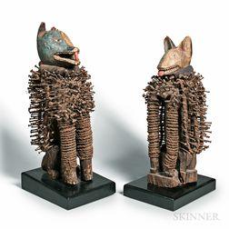 Pair of Kongo-style Nkisi Nkondi Dog Figures