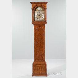 Georgian Burl Walnut Veneer Tall Clock