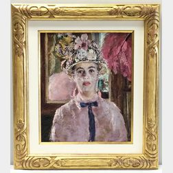 Attributed to Andrew Shunney (American, 1916-1978)      Woman in Pink with Flowered Hat and Veil