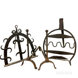 Two Wrought Iron Roasters and a Pair of Andirons.     Estimate $250-350