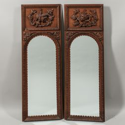 Pair of Carved Oak Mirrors