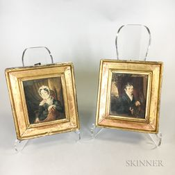 Pair of Framed Watercolor Portraits of a Man and Woman
