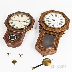 Three Drop Octagonal Schoolhouse Clocks
