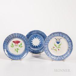 Three Small Blue Spatterware Plates