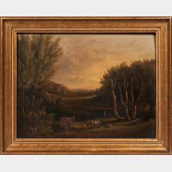 American School, 19th Century      Pastoral Landscape with Cows and Men Fishing.