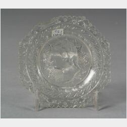 Colorless Pressed Lacy Glass Washington Historical Bust Cup Plate