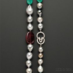 Tahitian Pearl and Emerald and Rubellite Bead Longchain, Christopher Walling