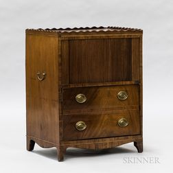 George III Mahogany Tambour-front Bedside Cabinet