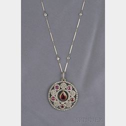 Edwardian Synthetic Ruby, Ruby, and Diamond Pendant, Retailed by Koch