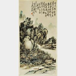 Hanging Scroll of a Mountainous Landscape