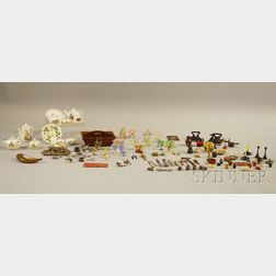 Group of Assorted Miniature Silver, Metal, Ceramic, Porcelain, Wood, and Glass   Household and Table Articles
