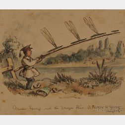 John Leech (British, 1817-1864)      Master George and the Dragon Flies, A Caution to Young Anglers