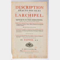 Dapper, Olfert (1636-1689) Description Exacte des Isles de LArchipel et de Quelques Autres Adjacentes; dont les Principales sont Chypr