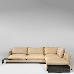 Flexform Leather Long Island Sofa with Chaise Element