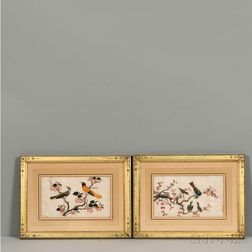Two Export Pith Paintings of Birds