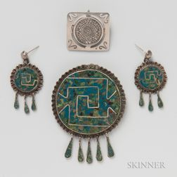 Mexican Sterling Silver and Inlaid Brooch and Earrings Suite and Sterling Silver Brooch