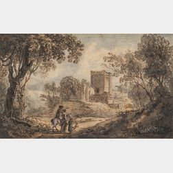 British School, 17th/18th Century      Landscape with Castle and Foreground Figures