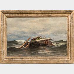 George Savary Wasson (American, 1855-1932)      Wrecked Sailing Vessel Adrift, Perhaps in Isle au Haut Bay
