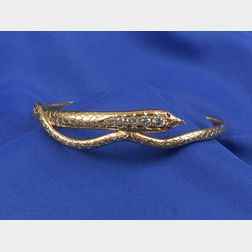 Victorian 14kt Gold and Diamond Snake Arm Band