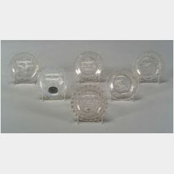 Six Assorted Pressed Lacy Glass Cup Plates