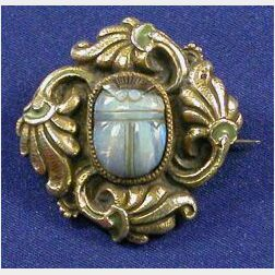 Art Nouveau Sterling Silver, Opal, and Enamel Brooch