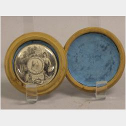 George Washington Memorial Lithographed Rondel in Maple Case.