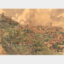 Edward Darley Boit (American, 1840-1915)    View of Spoleto, Italy