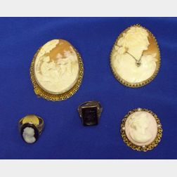 Three 14kt Gold Framed Shell Carved Cameo Brooches and Two 14kt Gold Rings