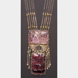 Arts & Crafts Carved Gem-set Necklace, J. Hartwell Shaw