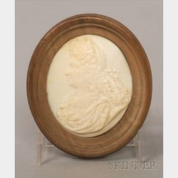 Continental Carved Ivory Oval Portrait of a Royal Figure