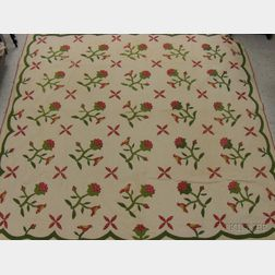 Hand-stitched Floral and Bird Applique Pattern Cotton Quilt.