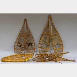 Four Pairs of Vintage Wood and Sinew Snowshoes