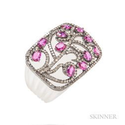 Rock Crystal, Ruby, and Diamond Ring