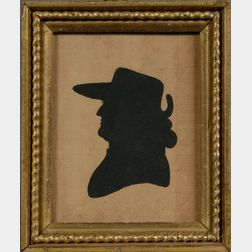 Painted Silhouette of Notable Revolutionary War Figure Dr. Thomas Barnard, Jr.