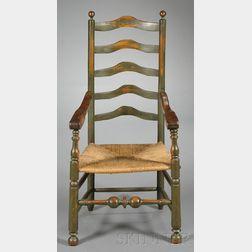 Green-painted Slat-back Armchair