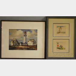 Two Framed Watercolors of Lighthouses:      John Cuthbert Hare (American, 1908-1978), Lighthouse and Outbuildings