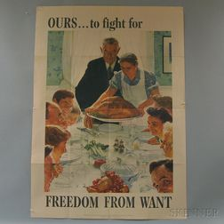 Set of Four Norman Rockwell U.S. WWII Freedoms   Lithograph Posters