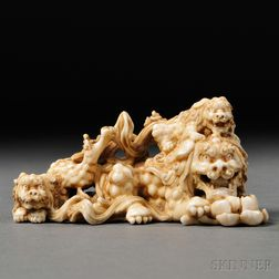 Ivory Okimono of a Lion Dog (Shisa