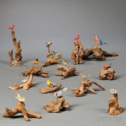 Fourteen Carved and Painted Songbird Figures