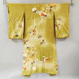 Japanese Painted Crepe Silk Kimono
