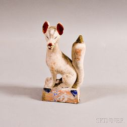Painted Terra-cotta Fox Guardian