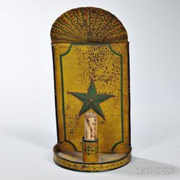 Paint-decorated Tin Sconce