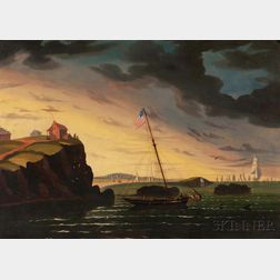 Thomas Chambers (New York/England, 1808-1869)      American Shore Scene, Possibly a Nahant, Massachusetts, View