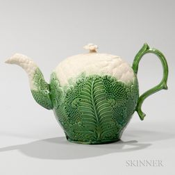 Staffordshire Cauliflower Decorated Cream-colored Teapot and Cover