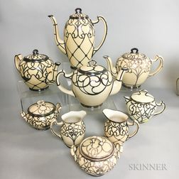 Nine Lenox and Belleek Silver Overlay Porcelain Teaware Items