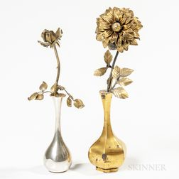 Two Sterling Silver Flowers