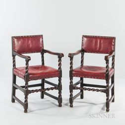 Pair of Leather-upholstered Oak Open Armchairs
